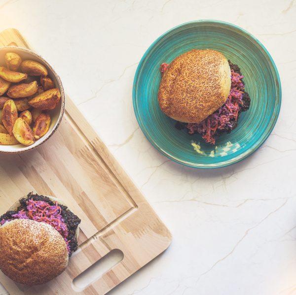 Vegan caramelised portobello burger